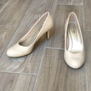 Shoes - Nude Round-Toe Pumps.